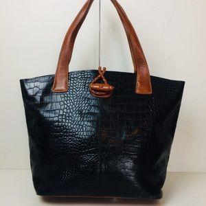 Eric Javits NY Croc Embossed Leather Shoulder Bag